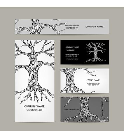 ocas: Árbol con raíces. Diseño de tarjetas de visita. Ilustración vectorial Vectores