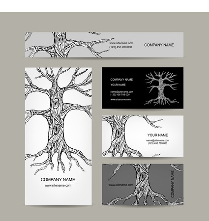 hollow: Tree with roots. Business cards design. Vector illustration