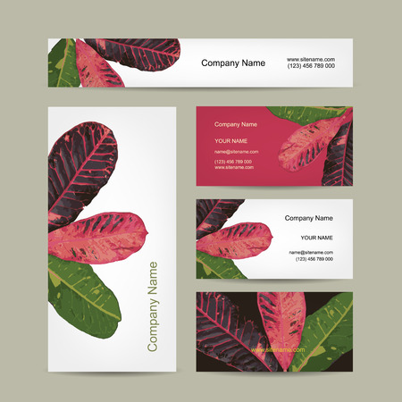 fragile peace: Business cards design, botanical theme. Vector illustration