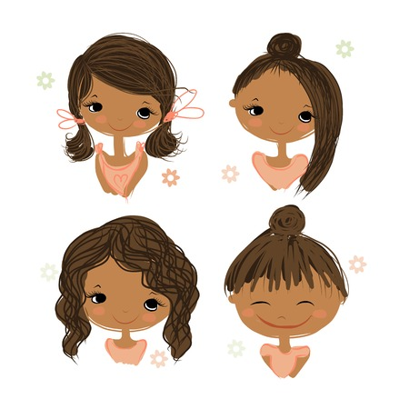 Cute girl smiling, sketch for your design, vector illustration Ilustração