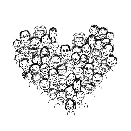 Happy peoples, heart shape for your design. Vector illustration Ilustracja