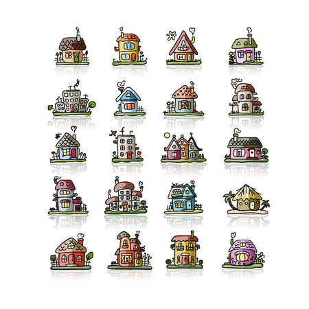 country house: Set of houses, sketch for your design. Vector illustration