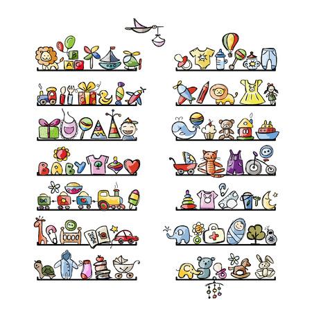 Estantes con iconos de bebé para su diseño. Ilustración vectorial