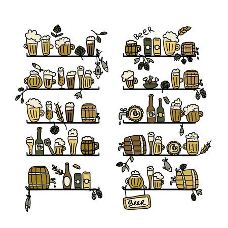 hop plant: Shelves with beer icons, sketch for your design. Vector illustration Illustration