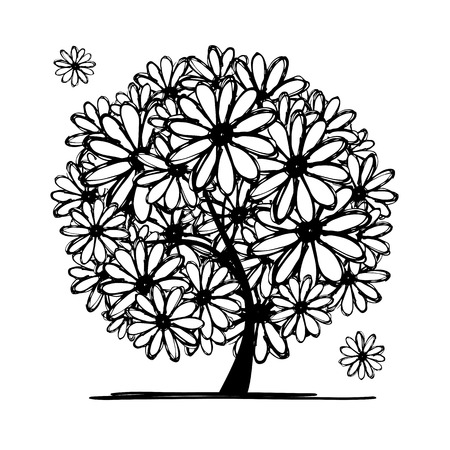 black and white image drawing: Art tree with camomiles for your design. Vector illustration