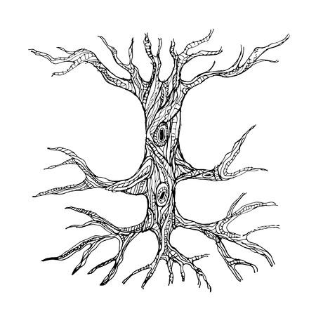뿌리와 화려한 맨 손으로 나무 줄기입니다. 벡터 일러스트 레이 션