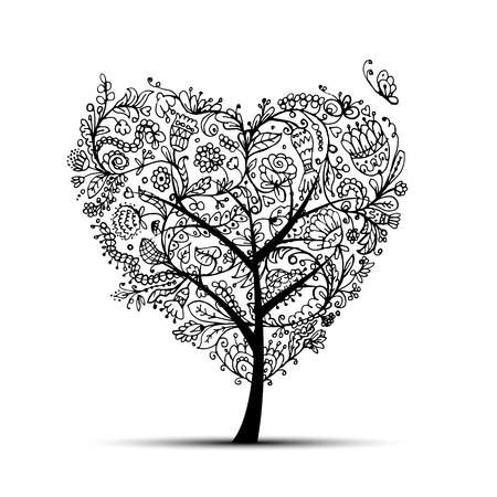 love tree: Love floral tree for your design. Vector illustration