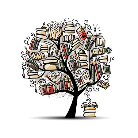 Book tree, sketch for your design. Vector illustration Vettoriali