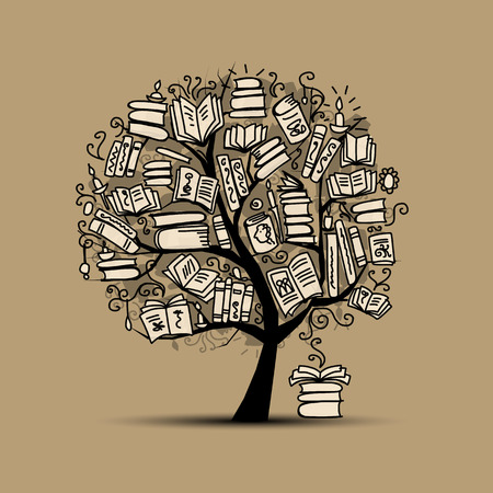 person reading: Book tree, sketch for your design. Vector illustration Illustration