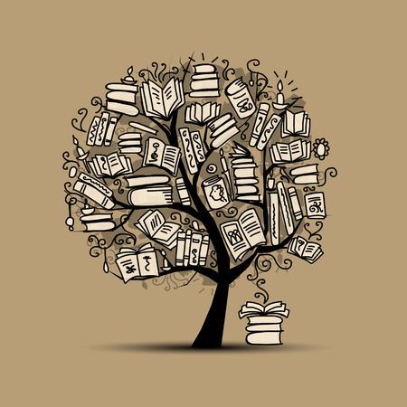 enseñanza: Árbol de libro, bosquejo para su diseño. Ilustración vectorial