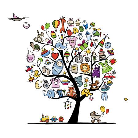Árbol del arte con los juguetes del bebé para su diseño. Ilustración vectorial