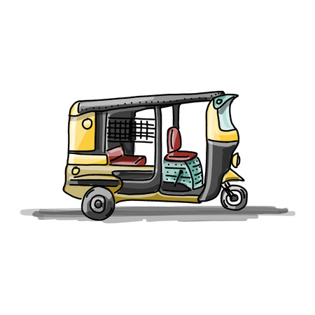 rikscha: Indian Taxi Auto, Skizze für Ihr Design. Vektor-Illustration