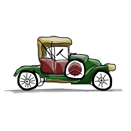 40s: Retro car sketch for your design. Vector illustration