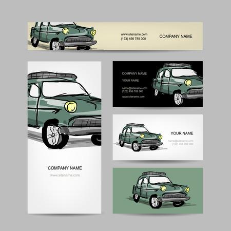 ビジネス カードのデザイン、レトロな車。ベクトル図