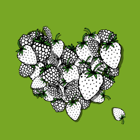 heart sketch: Berries heart, sketch for your design, sketch for your design. Vector illustration