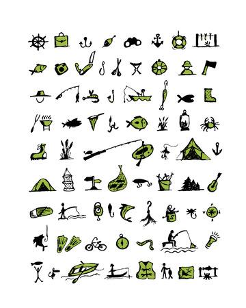 floater: Fishing icons, sketch for your design. Vector illustration Illustration