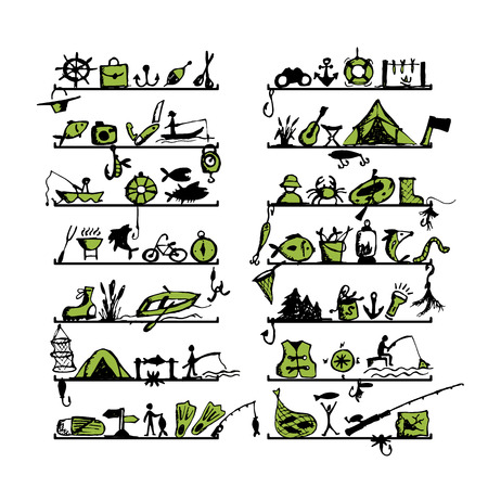 floater: Shelves with fishing icons, sketch for your design. Vector illustration