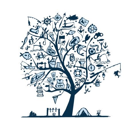 floater: Fishing tree concept, sketch for your design. Vector illustration Illustration