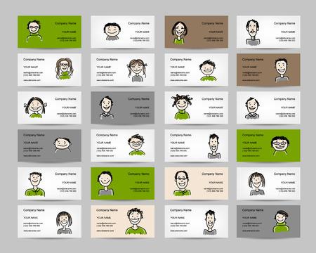 Visitekaartjes met mensen pictogrammen, schets voor uw ontwerp. vector illustratie Stock Illustratie