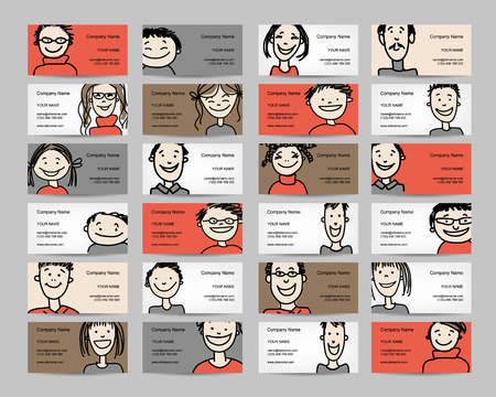 teamwork cartoon: Business cards with people icons, sketch for your design. Vector illustration