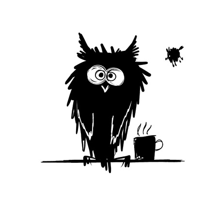 nigth: Funny owl black silhouette. Sketch for your design. Vector illustration