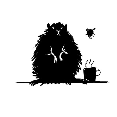 rodent: Funny rodent black silhouette. Sketch for your design. Vector illustration Illustration