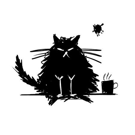 Funny cat black silhouette. Sketch for your design. Vector illustration Vettoriali