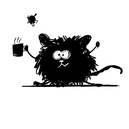 rata caricatura: Roedor divertido de la silueta en negro. Boceto de su dise�o. Ilustraci�n vectorial