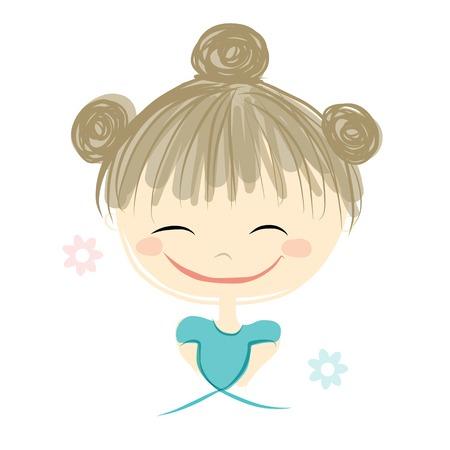 girl face: Cute girl smiling, sketch for your design, vector illustration Illustration
