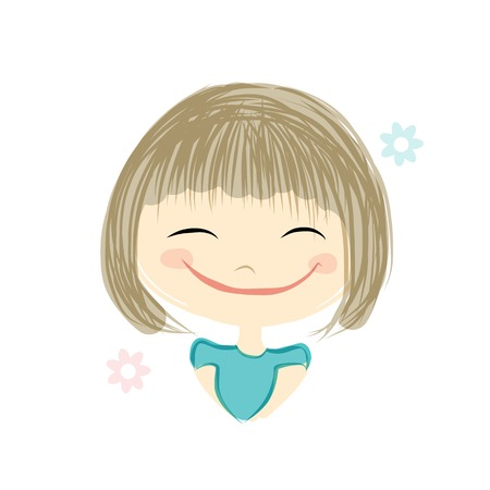blonde curly hair: Cute girl smiling, sketch for your design, vector illustration Illustration