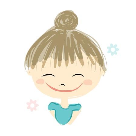 cute girl: Cute girl smiling, sketch for your design, vector illustration Illustration