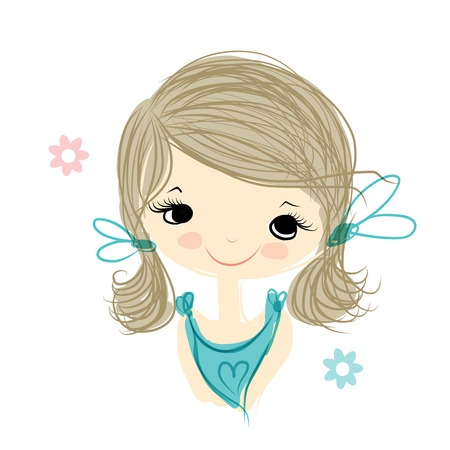 baby toy: Cute girl smiling, sketch for your design, vector illustration Illustration