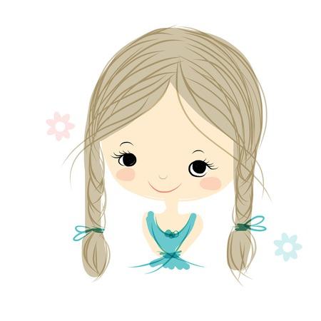 ni�os rubios: Linda chica sonriente, bosquejo para su dise�o, ilustraci�n vectorial