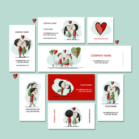 Couple in love kissing, cards for your design, vector illustration