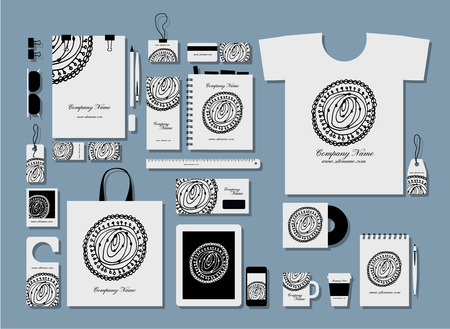 tshirts: Corporate flat identity mock-up template for your design. Vector illustration