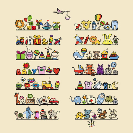 nappies: Shelves with baby icons for your design. Vector illustration