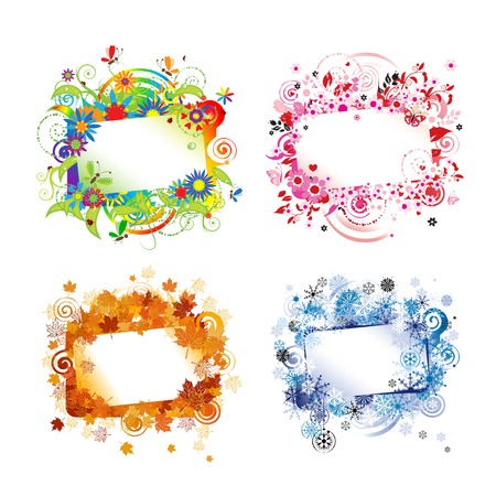 Four seasons, design frames with place for your text. Vector illustration Ilustração