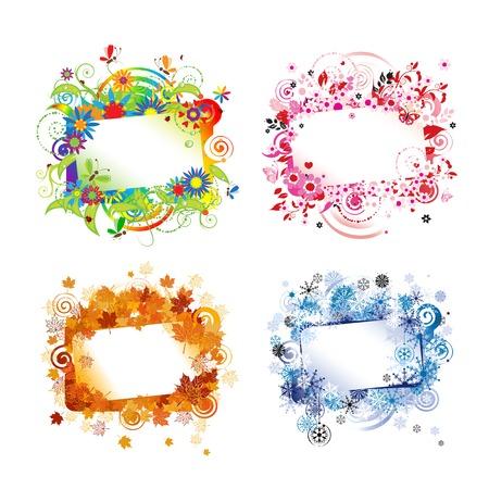 Quatre saisons, conception cadres avec la place pour votre texte. Vector illustration Banque d'images - 44559478