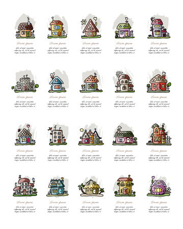 small country town: Set of houses, sketch for your design. Vector illustration