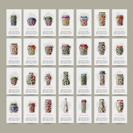 pickle: Set of cards, pickle jars with fruits and vegetables, sketch for your design. Vector illustration