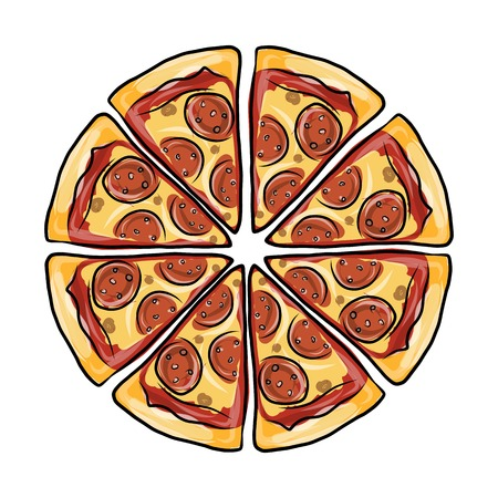 italian sausage: Pieces of pizza, sketch for your design. Vector illustration