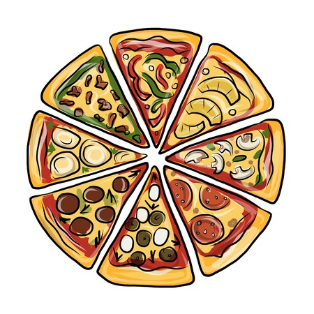 sliced: Pieces of pizza, sketch for your design. Vector illustration