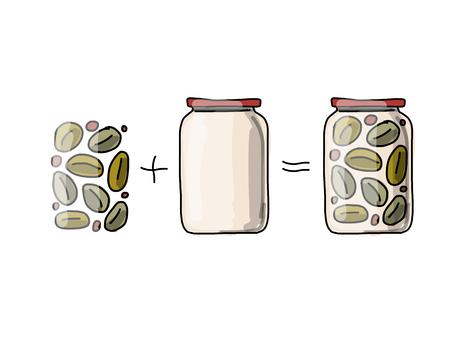 pickled: Bank of pickled olives, sketch for your design. Vector illustration
