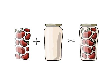 pickled: Bank of pickled tomatos, sketch for your design. Vector illustration Illustration