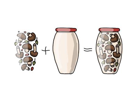 pickled: Bank of pickled mashrooms, sketch for your design. Vector illustration