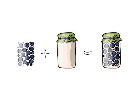 hand jam: Jar with blueberry jam, sketch for your design. Vector illustration