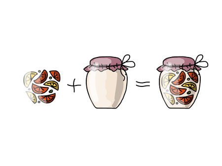glass jars: Jar with orange jam, sketch for your design. Vector illustration