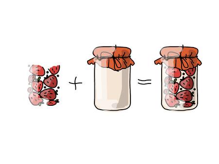 strawberry jam: Jar with strawberry jam, sketch for your design. Vector illustration Illustration
