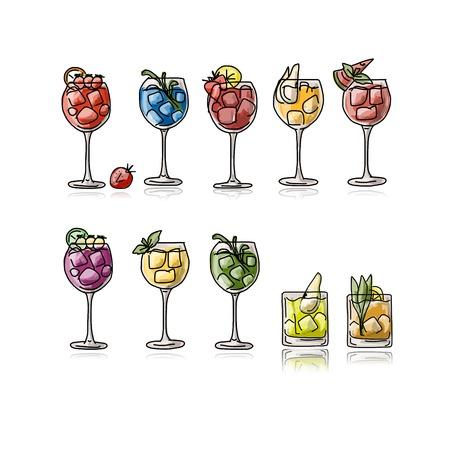 water jug: Cocktails collection, sketch for your design. Vector illustration
