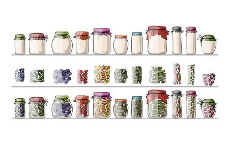 encurtidos: Conjunto de tarros de la salmuera con frutas y verduras, bosquejo para su diseño. Ilustración vectorial
